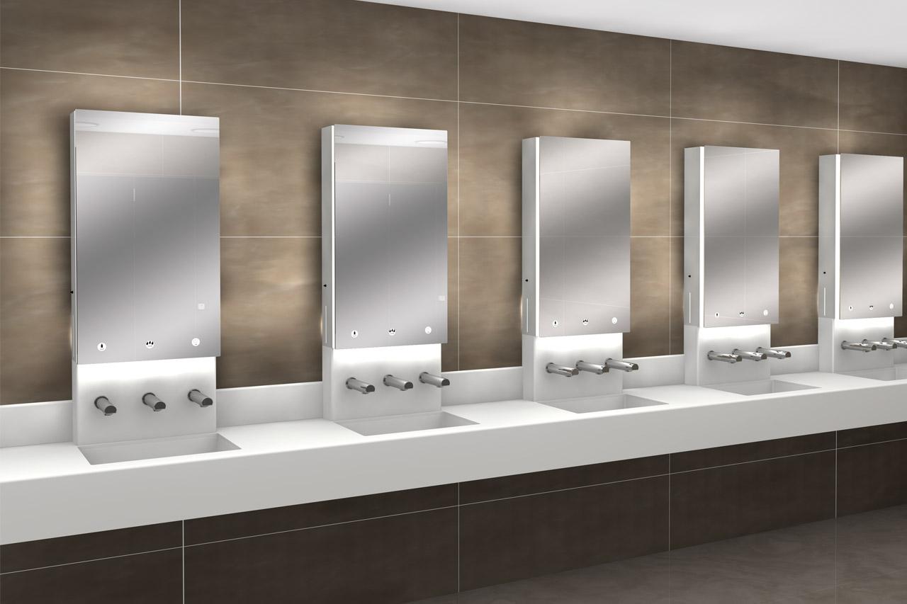 Pareti in hpl e vetro lavabi in corian e sistemi per - Bagni per uffici ...